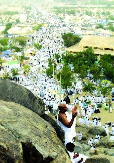Pilgrims arriving on top of Al-Rahmah Mountain in Arafat